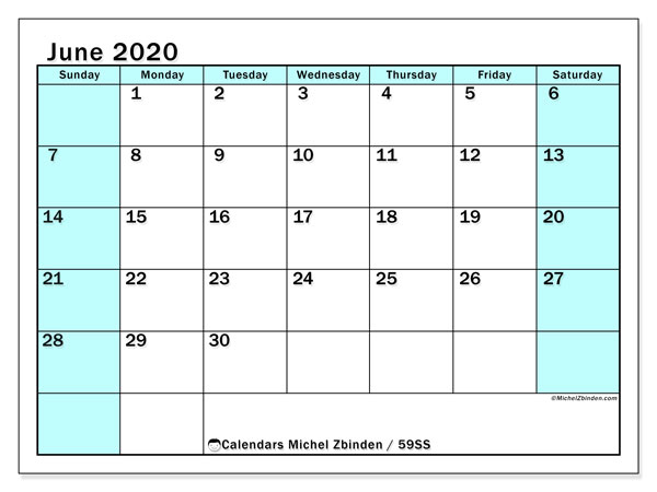 June 2020 Calendar, 59SS. Free planner to print.
