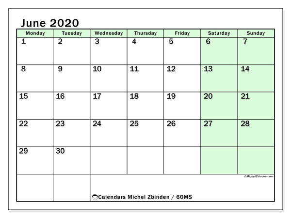 June 2020 Calendar, 60MS. Free calendar to print.