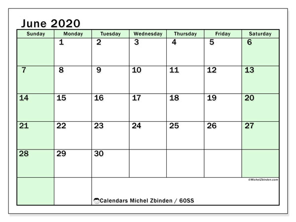 June 2020 Calendar, 60SS. Monthly calendar to print free.