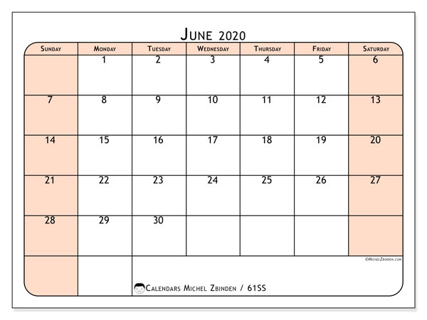 June 2020 Calendar, 61SS. Free printable monthly planner.