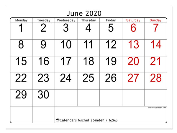 June 2020 Calendar, 62MS. Planner to print free.