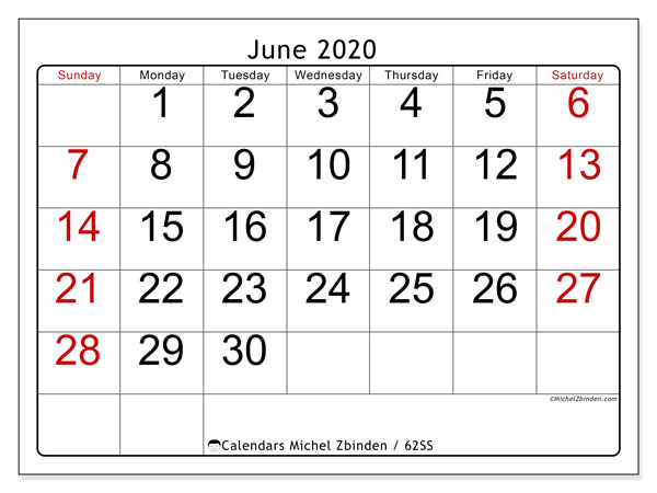 June 2020 Calendar, 62SS. Calendar for the month to print free.