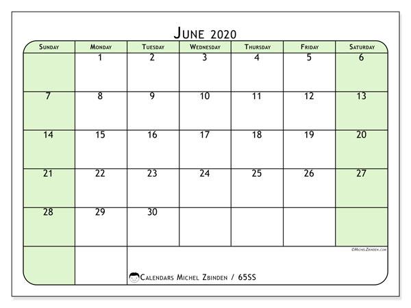 June 2020 Calendar, 65SS. Free calendar to print.
