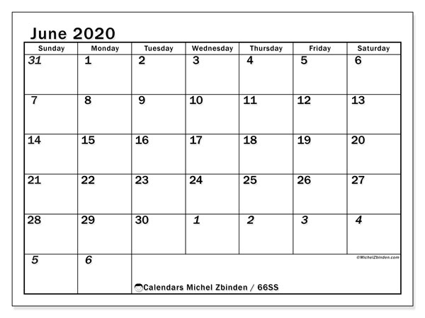 June 2020 Calendar, 66SS. Monthly planner to print free.
