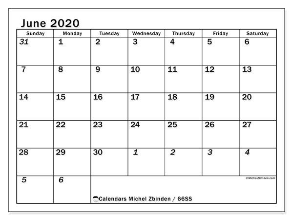 June 2020 Calendar, 66SS. Monthly calendar to print free.