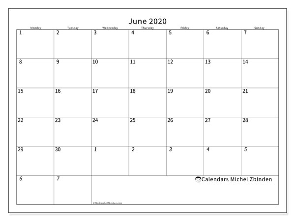 June 2020 Calendar, 70MS. Free planner to print.