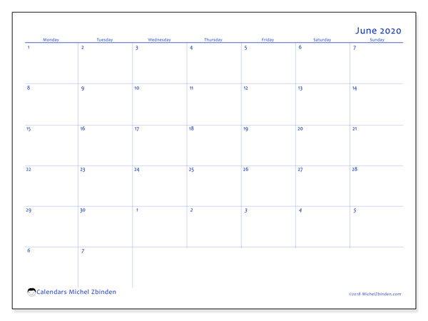 June 2020 Calendar, 73MS. Free calendar to print.