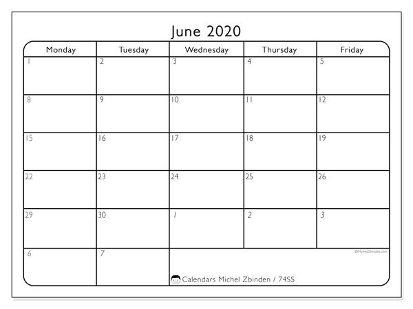 June 2020 Calendar, 74SS. Free printable monthly planner.