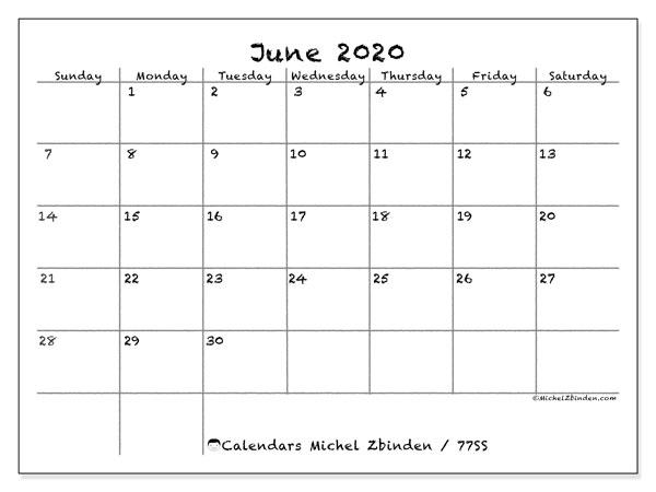 June 2020 Calendar, 77SS. Calendar for the month to print free.