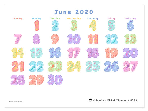 Calendar June 2020 - 83SS. Festival of Colors. Monthly Calendar and free bullet journal to print.