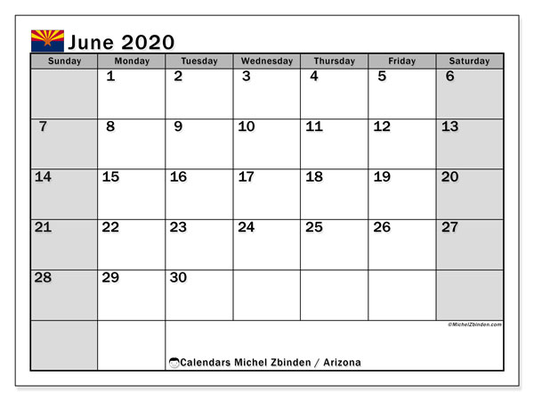 "Printable ""Arizona"" calendar with public holidays. Monthly June 2020 calendar and timetable to print free."