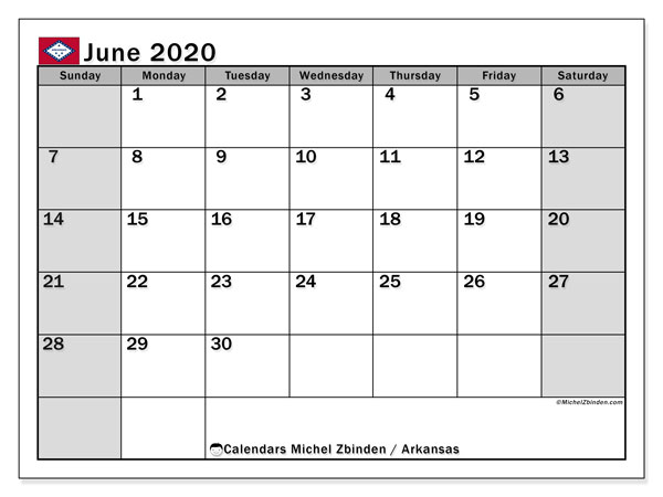 June 2020 Calendar, with the holidays of Arkansas. Free printable calendar with public holidays.