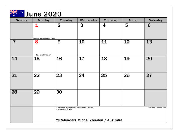 June 2020 Calendar, with the holidays of Australia. Holidays calendar to print free.