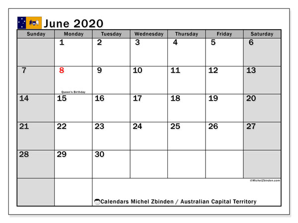 Calendar June 2020 - Australian Capital Territory. Public Holidays. Monthly Calendar and free planner to print.