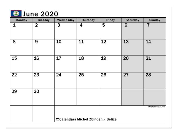 Calendar June 2020 - Belize. Public Holidays. Monthly Calendar and free schedule to print.