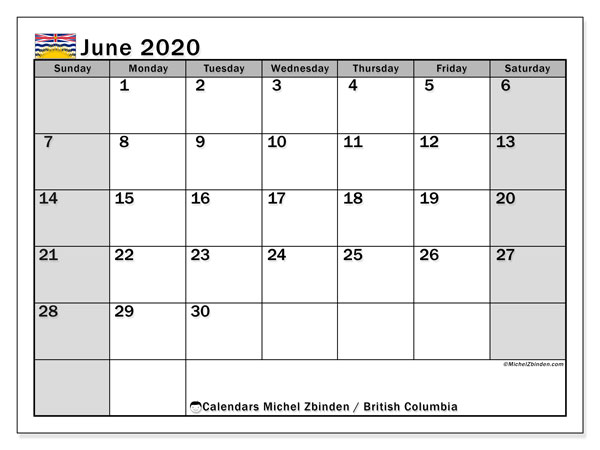 June 2020 Calendar, with the holidays of British Columbia. Free printable calendar with public holidays.