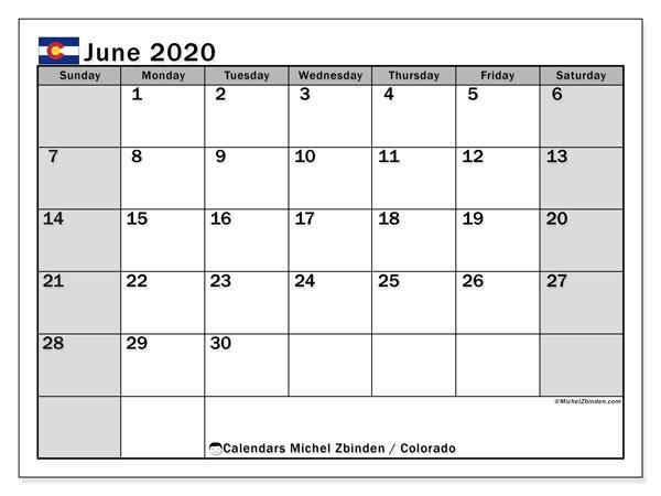 June 2020 Calendar, with the holidays of Colorado. Free printable calendar with public holidays.