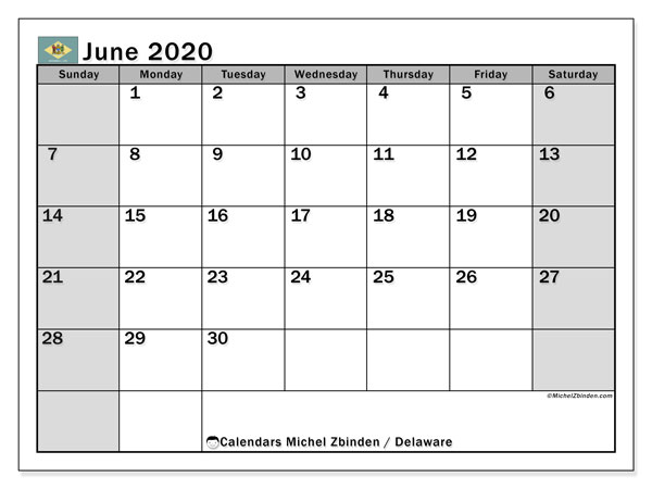"Printable ""Delaware"" calendar with public holidays. Monthly June 2020 calendar and free bullet journal to print."