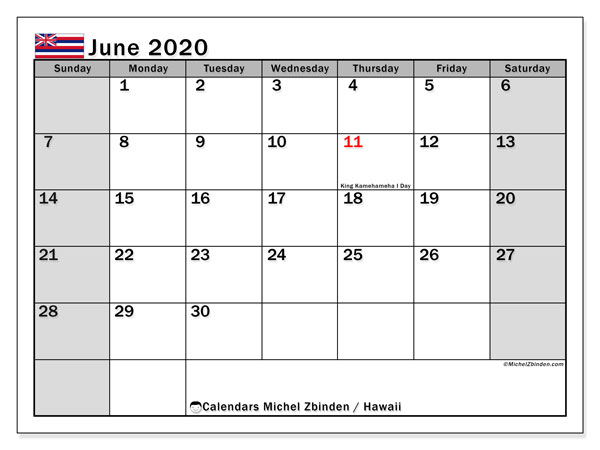 June 2020 Calendar, with the Hawaii holidays. Free printable calendar with public holidays.
