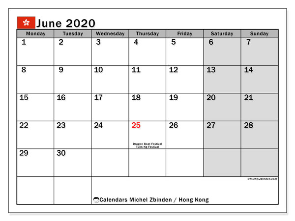 June 2020 Calendar, with the holidays of Hong Kong. Holidays calendar to print free.