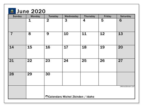 June 2020 Calendar, with the holidays of Idaho. Holidays calendar to print free.