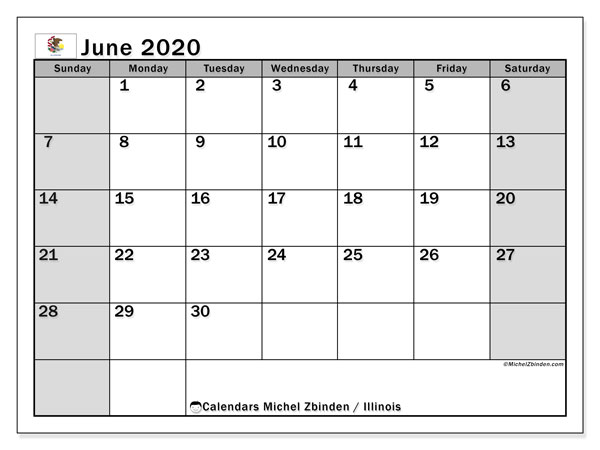 June 2020 Calendar, with the holidays of Illinois. Free printable calendar with public holidays.