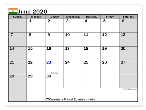 June 2020 Calendar, with the holidays of India. Free printable calendar with public holidays.