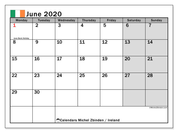 June 2020 Calendar, with the holidays of Ireland. Holidays calendar to print free.