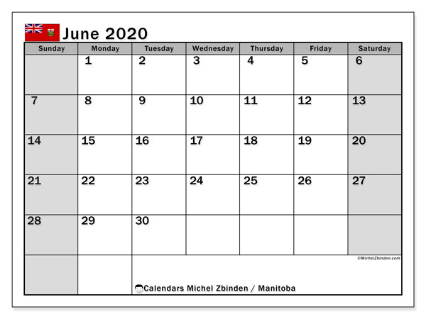 June 2020 Calendar, with the holidays of Manitoba. Free printable calendar with public holidays.