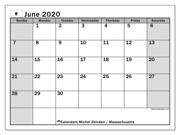 "Printable ""Massachusetts"" calendar with public holidays. Monthly June 2020 calendar and schedule to print free."
