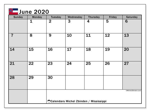 Calendar June 2020 - Mississippi. Public Holidays. Monthly Calendar and planner to print free.