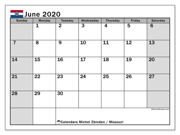 June 2020 Calendar, with the holidays of Missouri. Free printable calendar with public holidays.