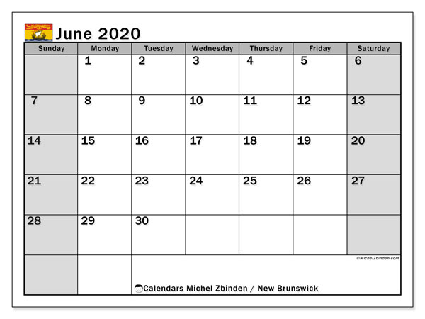 Calendar June 2020 - New Brunswick. Public Holidays. Monthly Calendar and free planner to print.