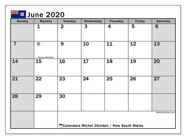 June 2020 Calendar, with the holidays of New South Wales. Free printable calendar with public holidays.