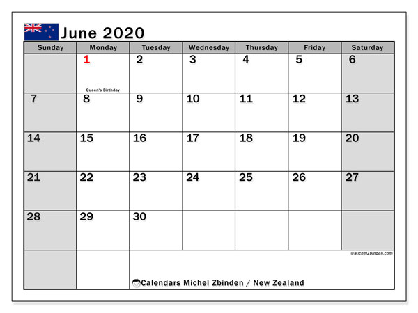 Calendar June 2020 - New Zealand. Public Holidays. Monthly Calendar and planner to print free.
