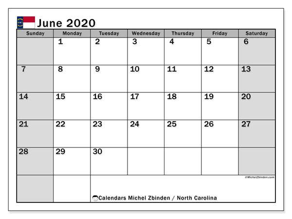 June 2020 Calendar, with the holidays of North Carolina. Free printable calendar with public holidays.