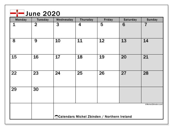 Calendar Northern Ireland, June 2020