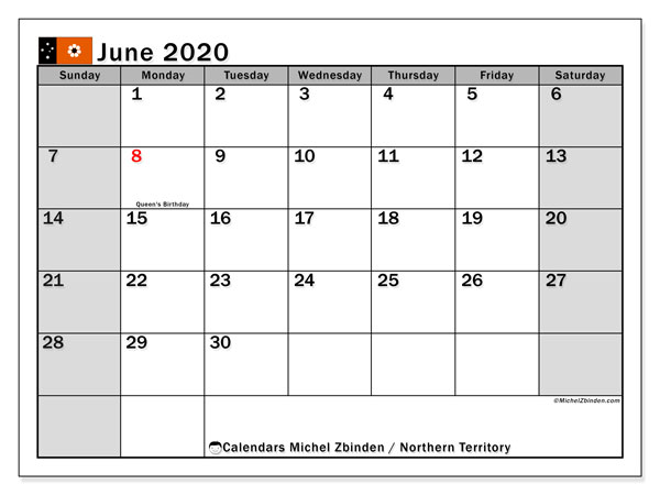 Calendar June 2020 - Northern Territory. Public Holidays. Monthly Calendar and free schedule to print.