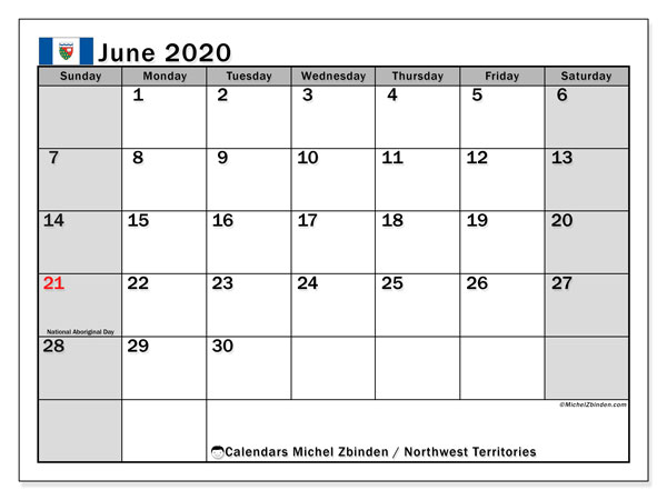 June 2020 Calendar, with the holidays of Northwest Territories. Holidays calendar to print free.