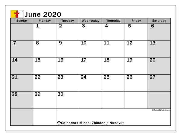 June 2020 Calendar, with the holidays of Nunavut. Holidays calendar to print free.