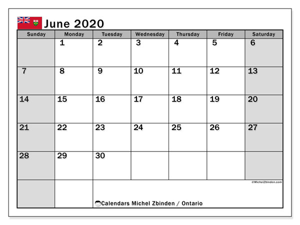 June 2020 Calendar, with the holidays of Ontario. Free printable calendar with public holidays.