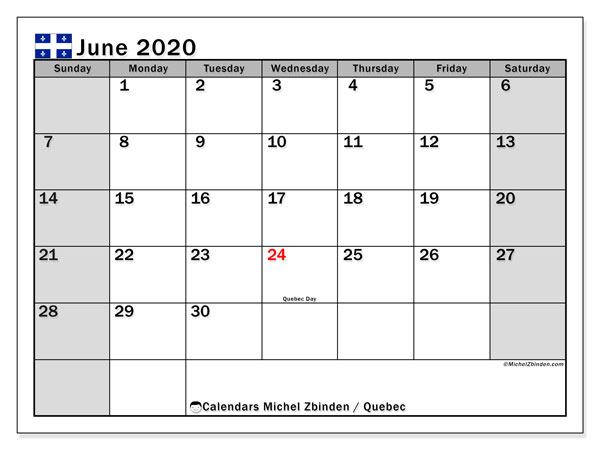 June 2020 Calendar, with the holidays of Quebec. Holidays calendar to print free.