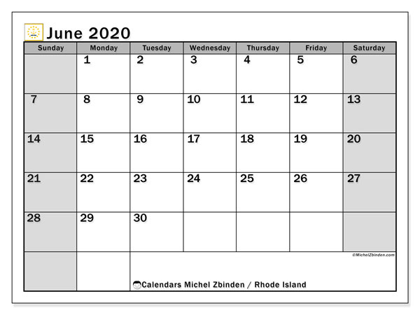 Calendar June 2020 - Rhode Island. Public Holidays. Monthly Calendar and free printable planner.
