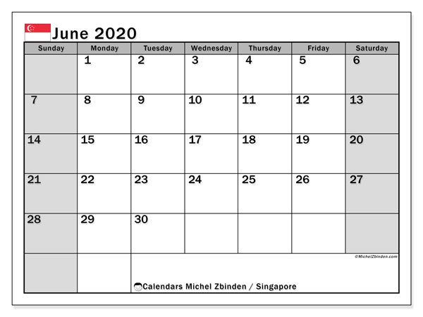 June 2020 Calendar, with the holidays of Singapore. Free printable calendar with public holidays.