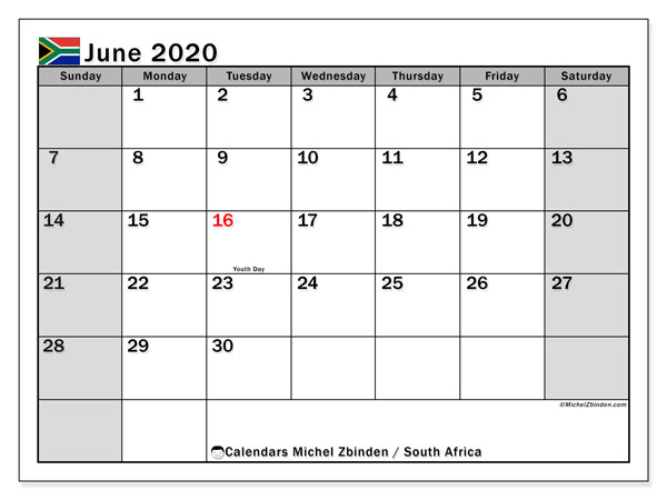 Calendar June 2020, with the holidays of South Africa. Calendar for the month to print free.