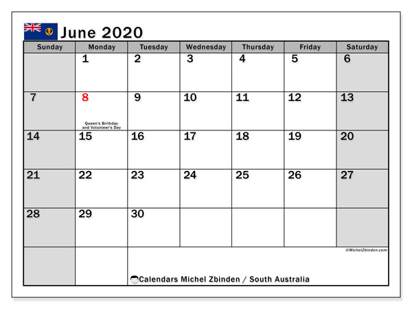 June 2020 Calendar, with the holidays of South Australia. Free printable calendar with public holidays.