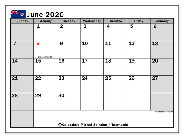 June 2020 Calendar, with the holidays of Tasmania. Free printable calendar with public holidays.