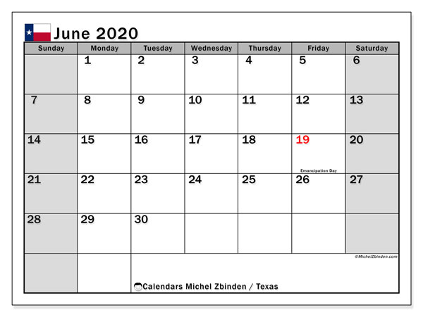 June 2020 Calendar, with the holidays of Texas. Free printable calendar with public holidays.