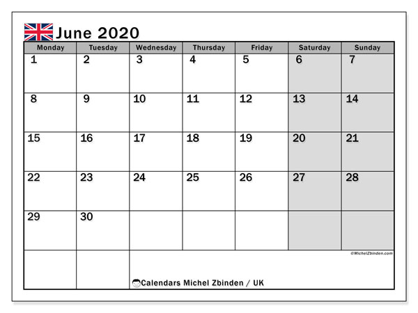 Calendar June 2020.June 2020 Calendar Uk Michel Zbinden En