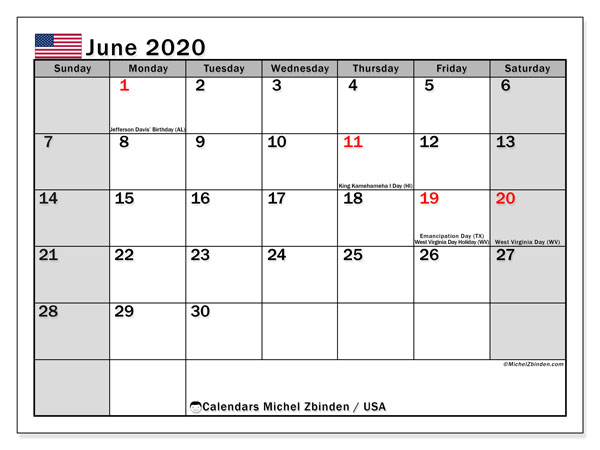 "Printable ""USA"" calendar with public holidays. Monthly June 2020 calendar and free bullet journal to print."